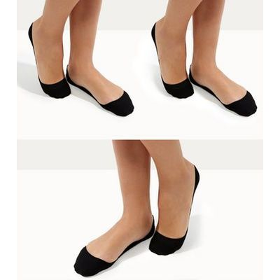 3 Pack Black Invisible Liner Socks New Look