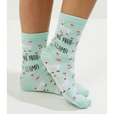 Mint Green No Prob Llama Socks New Look
