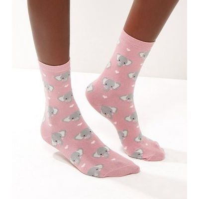 Pink Elephant Print Socks New Look