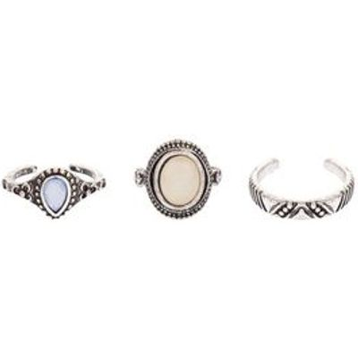 3 Pack Silver Stone Toe Rings New Look