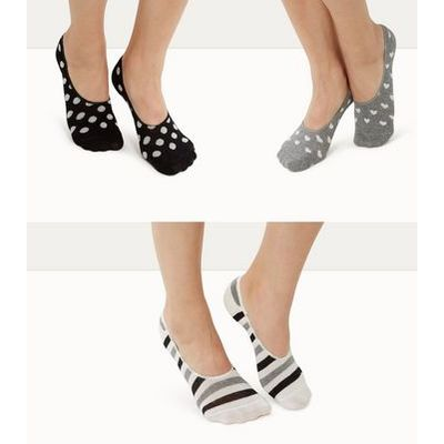 3 Pack Black Stripe Spot and Heart Print Ballerina Socks New Look
