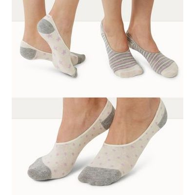 3 Pack Grey Stripe Star and Spot Print Ballerina Socks New Look