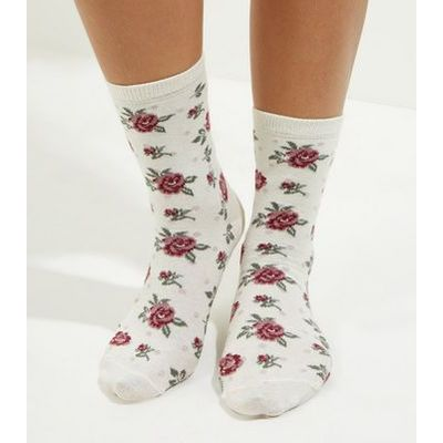 Cream Floral Print Socks New Look