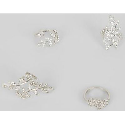 4 Pack Silver Crystal Leaf Wrap Rings New Look