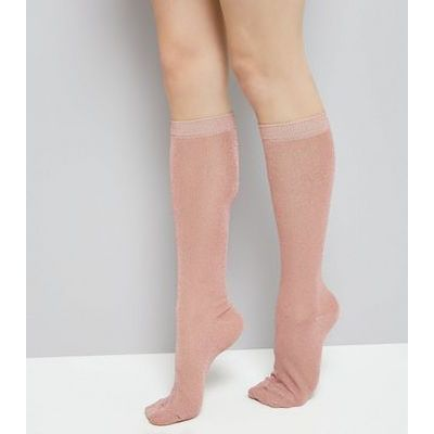 Rose Gold Glitter Knee High Socks New Look