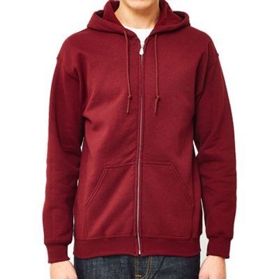 The Idle Man  Classic Zip Through Hoodie Burgundy  men's Sweater in red
