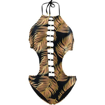 Beach Bunny  Multicolor Trikini swimsuit Bunny Basic Gold Foil Palm  women's Swimsuits in Multicolou