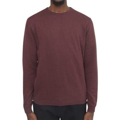 The Idle Man  Knitted Crew Neck Jumper Burgundy  men's Sweatshirt in red