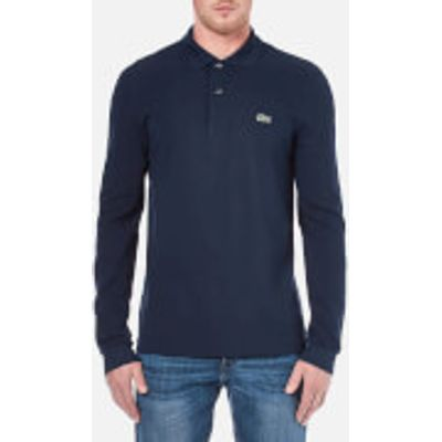 Lacoste Men's Basic Pique Long Sleeve Polo Shirt - Navy - 2/XS - Blue