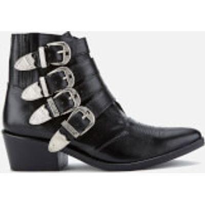 Toga Pulla Women's Buckle Side Leather Heeled Ankle Boots - Black Leather - UK 7/EU 40 - Black