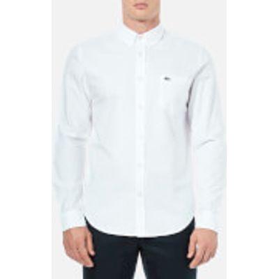 Lacoste Men's Oxford Long Sleeve Shirt - White - M-L/41cm - White