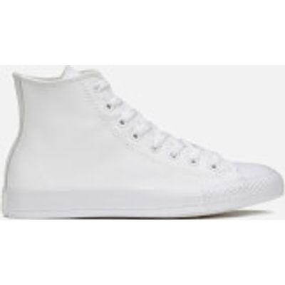 Converse Unisex Chuck Taylor All Star Leather Hi-Top Trainers - White Monochrome - UK 4 - White