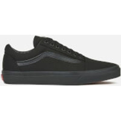 Vans Unisex Old Skool Canvas Trainers - Black/Black - UK 7 - Black