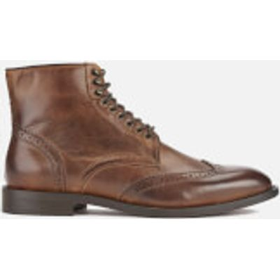 Hudson London Men's Greenham Leather Brogue Lace Up Boots - Cognac - UK 7 - Tan