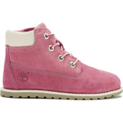Timberland Toddlers' Pokey Pine Size Zip Lace Up Boots - Pink Nubuck - UK 11 Toddler - Pink