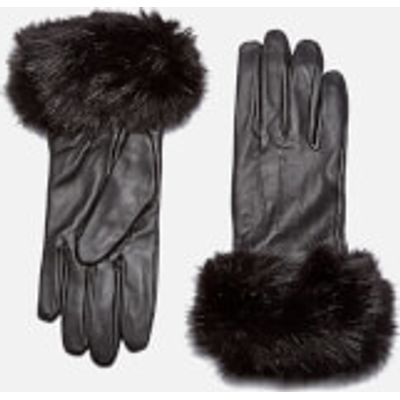 Barbour Women's Faux Fur Trimmed Leather Gloves - Black - Large - Black