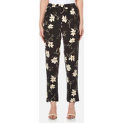 Ganni Women's Rosemont Crepe Floral Trousers - Black Wild Rose - UK 10/EU 38