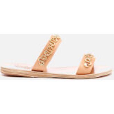 Ancient Greek Sandals Women's Poulia Hardware Double Strap Vachetta Leather Sandals - Natural - EU 3