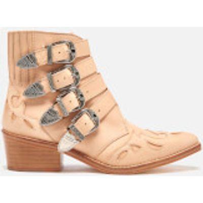 Toga Pulla Women's Buckle Side Leather Heeled Ankle Boots - Beige - UK 4/EU 37 - Beige