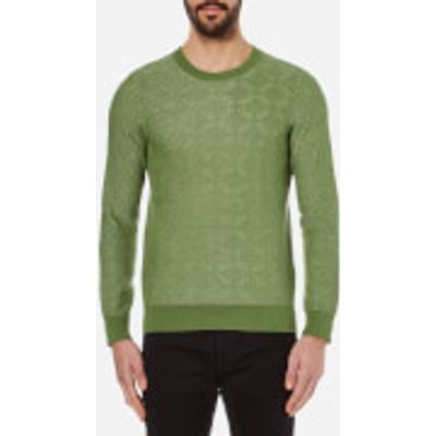 GANT Rugger Men's Textured Crew Neck Knitted Jumper - Chlorophyl Green - L - Green