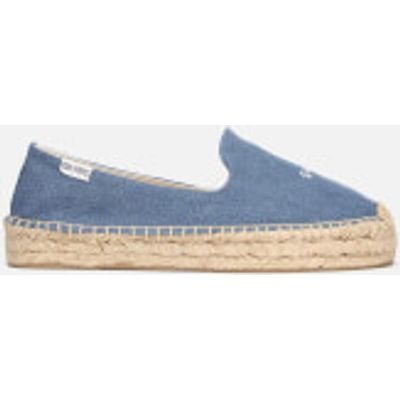 Soludos Women's Sorry Platform Smoking Slipper Espadrilles - Medium Denim - UK 4 - Blue