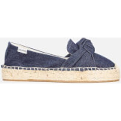 Soludos Women's Knotted Platform Smoking Slipper Espadrilles - Dark Denim - UK 5 - Blue