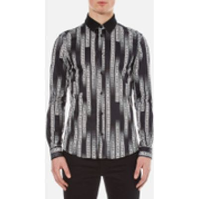 Versace Collection Men's All Over Printed Shirt with Contrast Collar - Black - EU 41/XL - Black