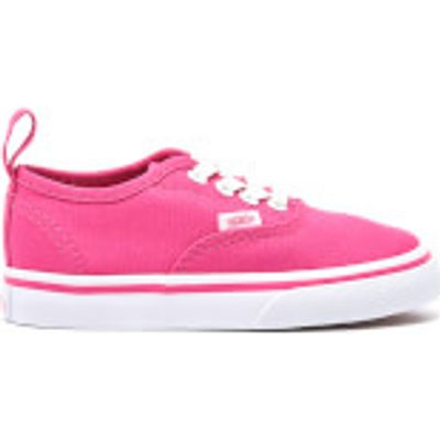 Vans Toddlers' Authentic Elastic Lace Trainers - Hot Pink/True White - UK 8 Toddlers - Pink