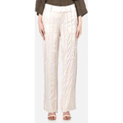 Gestuz Women's Tessa Wide Leg Seam Detail Satin Pants - Moonbeam - EU 34/UK 6 - Cream