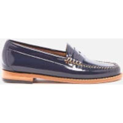 Bass Weejuns Women's Penny Wheel Patent Leather Loafers - Deep Navy - UK 4 - Blue