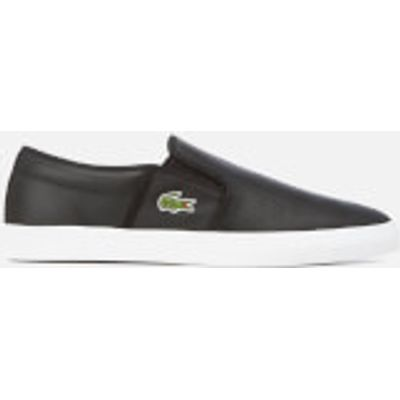 Lacoste Men's Gazon BL 1 Perforated Leather Slip-On Trainers - Black - UK 8 - Black