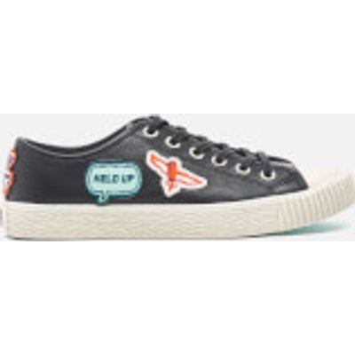 PS by Paul Smith Women's Inna Vulcanised Embroidered Motif Trainers - Black Badges Mono Lux - UK 6 -