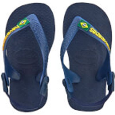 Havaianas Toddlers' Brasil Logo Flip Flops - Navy Blue/Yellow - EU 21/UK 5 Toddler - Navy