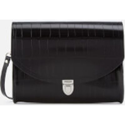 The Cambridge Satchel Company Women's Large Push Lock Bag - Black Patent Croc