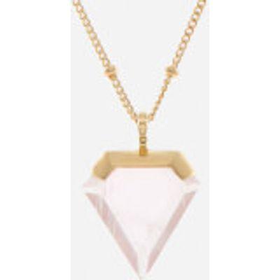 Missoma Women's Rose Quartz Shield Pendant and Gold Beaded Chain - Gold/Pink