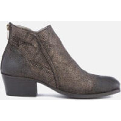 Hudson London Women's Apisi Leather Metallic Heeled Ankle Boots - Pewter - UK 3 - Silver