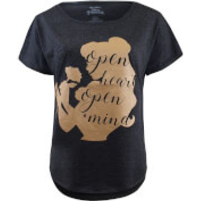 Beauty and the Beast Ladies Open Heart Open Mind T-Shirt - Charcoal Marl - M - Grey