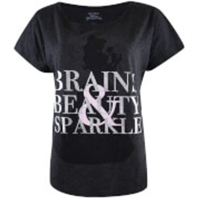 Beauty and the Beast Ladies Brains Beauty and Sparkle T-Shirt - Charcoal Marl - S - Grey