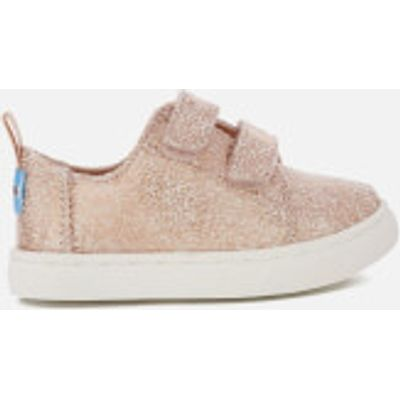 TOMS Toddlers' Lenny Double Velcro Trainers - Rose Gold Crackle Foil - UK 4/US 5 Toddlers - Gold
