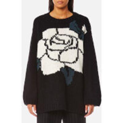 MM6 Maison Margiela Women's Oversized Rose Jacquard Knitted Jumper - Black - S - Black