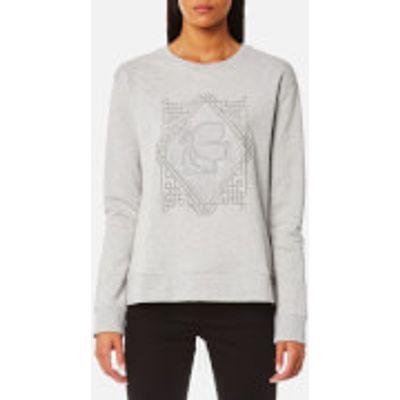 Karl Lagerfeld Women's Embroidered Pleated Back Sweatshirt - Grey - L