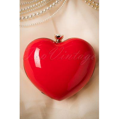 50s Starburst Heart Clutch in Red