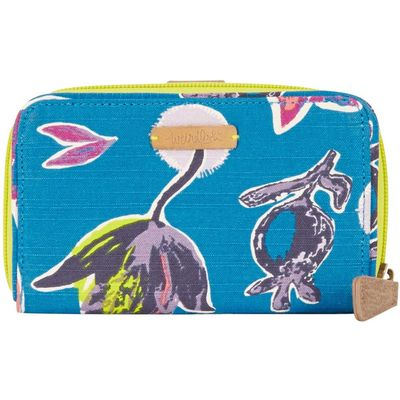 Weird Fish Tom Tom Printed Cotton Purse Blue Jay Size ONE
