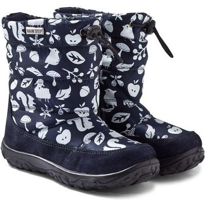 Navy Printed Snow Boots