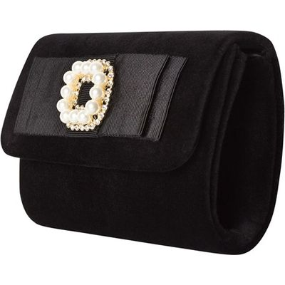 Black Velvet Clutch with Pearl and Diamante Detail