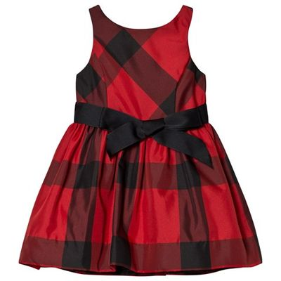 Red and Black Check Dress with Bow