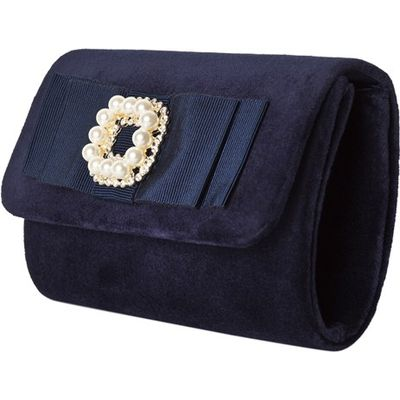 Navy Velvet Clutch with Pearl and Diamante Detail