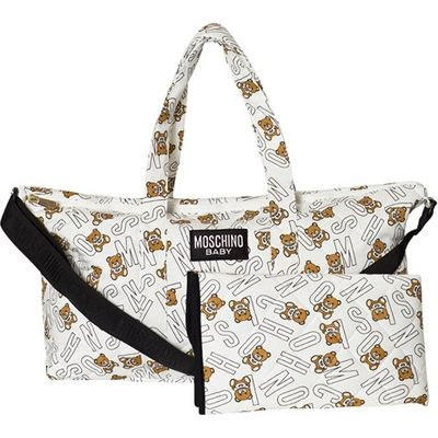 White All Over Bear Branded Print Changing Bag