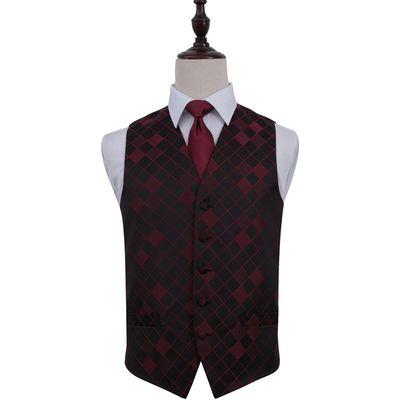 Burgundy Diamond Patterned Wedding Waistcoat & Tie Set 38