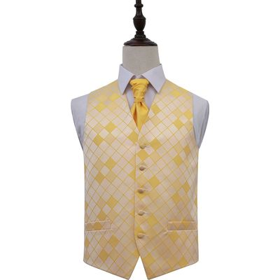 Sunflower Gold Diamond Patterned Wedding Waistcoat & Cravat Set 40